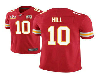 Men's Kansas City Chiefs #10 Tyreek Hill Red 2021 Super Bowl LV Vapor Untouchable Stitched Nike Limited NFL Jersey
