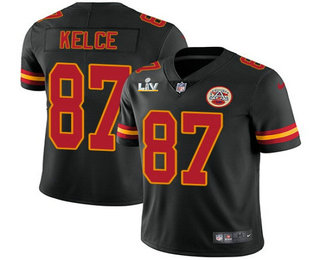 Men's Kansas City Chiefs #87 Travis Kelce Black 2021 Super Bowl LV Vapor Untouchable Stitched Nike Limited NFL Jersey