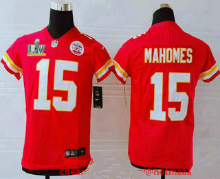 Youth Kansas City Chiefs #15 Patrick Mahomes Red 2021 Super Bowl LV Vapor Untouchable Stitched Nike Limited NFL Jersey