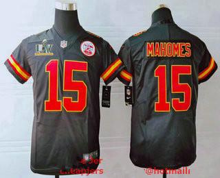 Youth Kansas City Chiefs #15 Patrick Mahomes Black 2021 Super Bowl LV Vapor Untouchable Stitched Nike Limited NFL Jersey