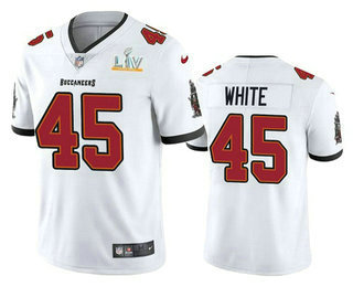 Men's Tampa Bay Buccaneers #45 Devin White White 2021 Super Bowl LV Vapor Untouchable Stitched Nike Limited NFL Jersey