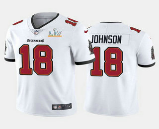 Men's Tampa Bay Buccaneers #18 Tyler Johnson White 2021 Super Bowl LV Limited Stitched NFL Jersey