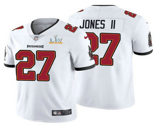 Men's Tampa Bay Buccaneers #27 Ronald Jones II White 2021 Super Bowl LV Limited Stitched NFL Jersey