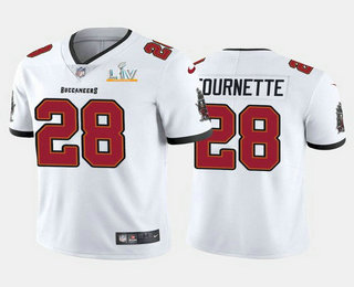 Men's Tampa Bay Buccaneers #28 Leonard Fournette White 2021 Super Bowl LV Limited Stitched NFL Jersey