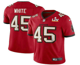 Men's Tampa Bay Buccaneers #45 Devin White Red 2021 Super Bowl LV Vapor Untouchable Stitched Nike Limited NFL Jersey