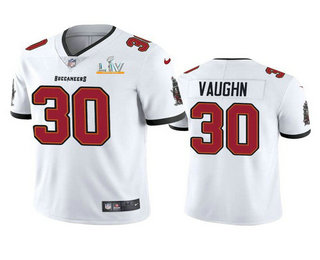 Men's Tampa Bay Buccaneers #30 Ke'Shawn Vaughn White 2021 Super Bowl LV Limited Stitched NFL Jersey