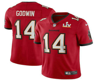 Men's Tampa Bay Buccaneers #14 Chris Godwin Red 2021 Super Bowl LV Vapor Untouchable Stitched Nike Limited NFL Jersey