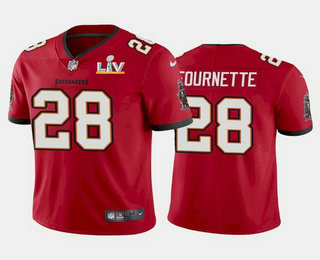 Men's Tampa Bay Buccaneers #28 Leonard Fournette Red 2021 Super Bowl LV Limited Stitched NFL Jersey
