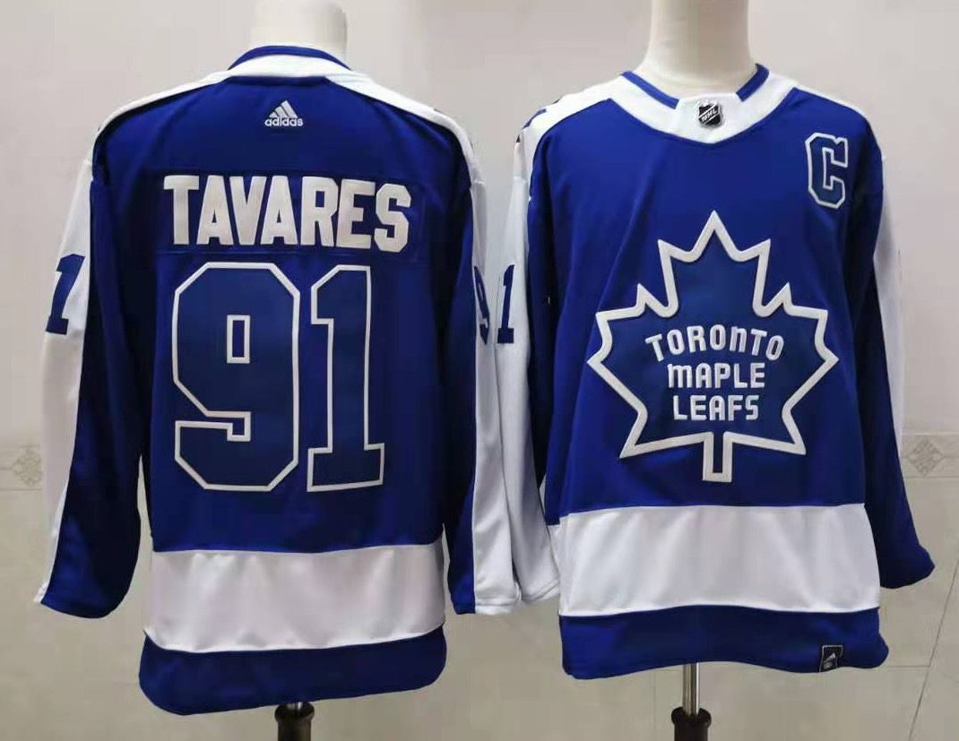 Men's Toronto Maple Leafs #91 John Tavares Royal Blue With C Patch 2021 Retro Stitched NHL Jersey