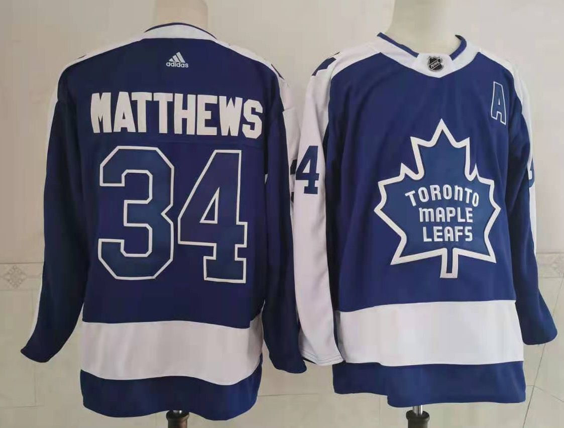 Men's Toronto Maple Leafs #34 Auston Matthews Royal Blue 2021 Retro Stitched NHL Jersey