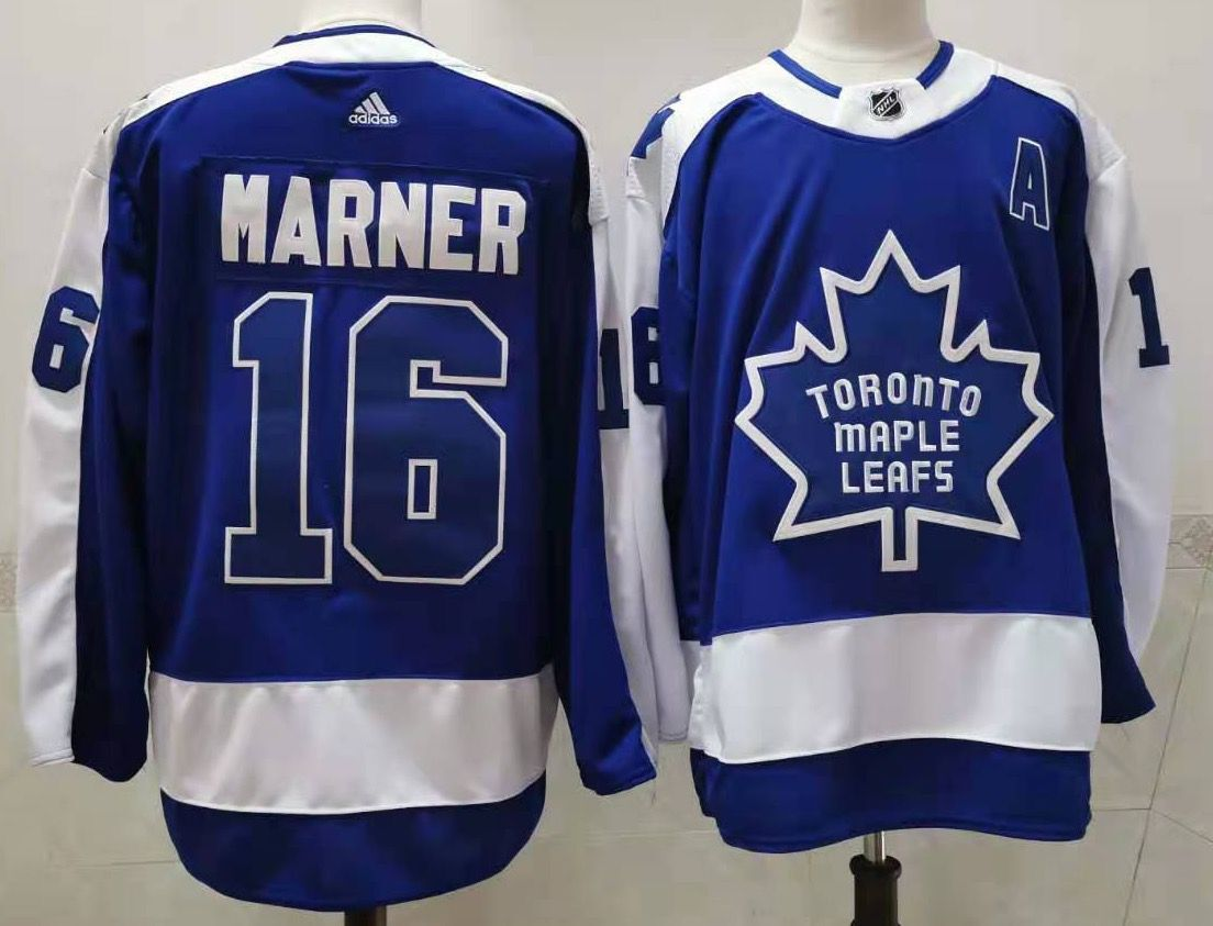 Men's Toronto Maple Leafs #16 Mitchell Marner Royal Blue With A Patch 2021 Retro Stitched NHL Jersey