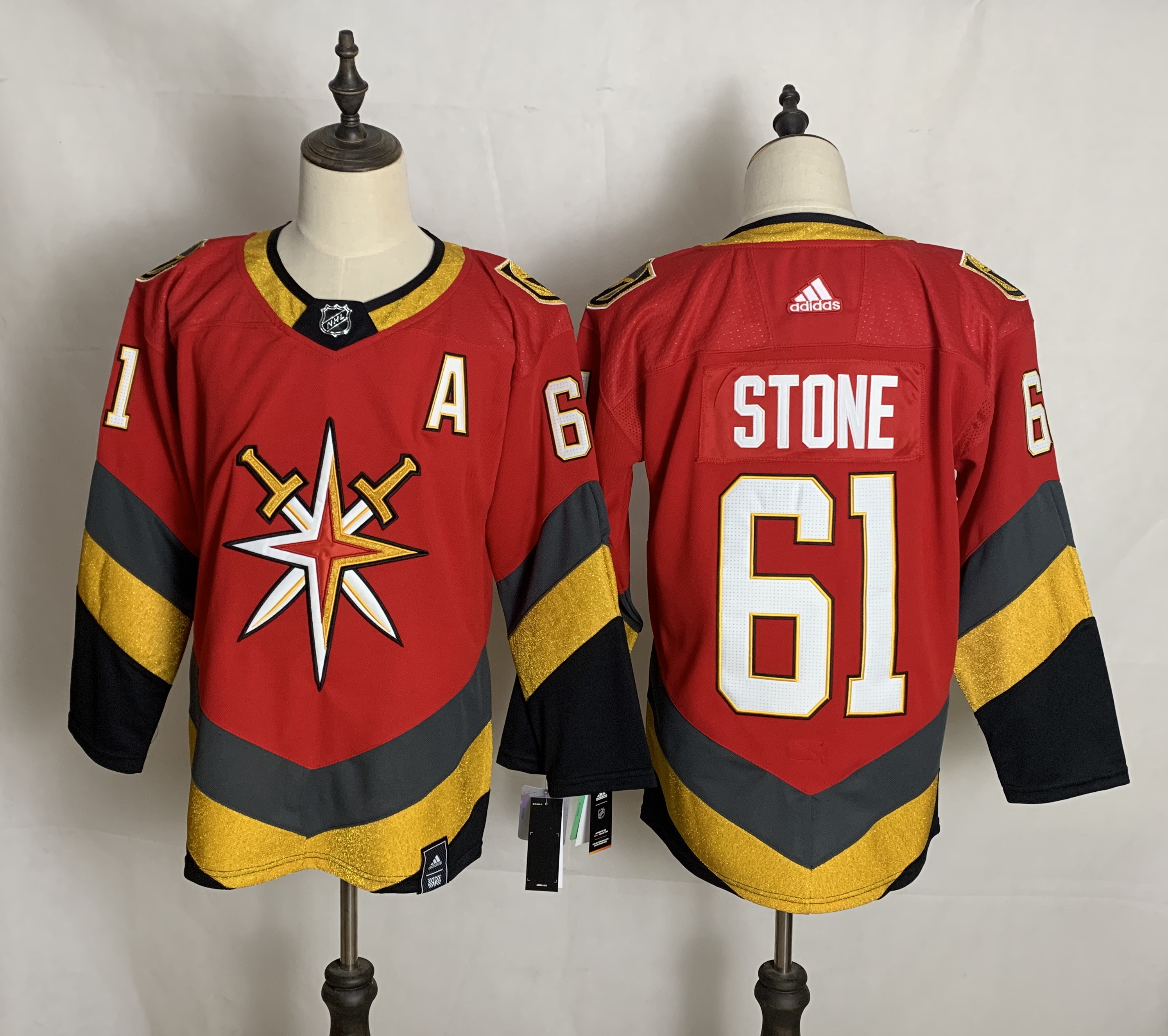 Men's Vegas Golden Knights #61 Mark Stone Red Adidas 2020-21 Alternate Authentic Player NHL Jersey