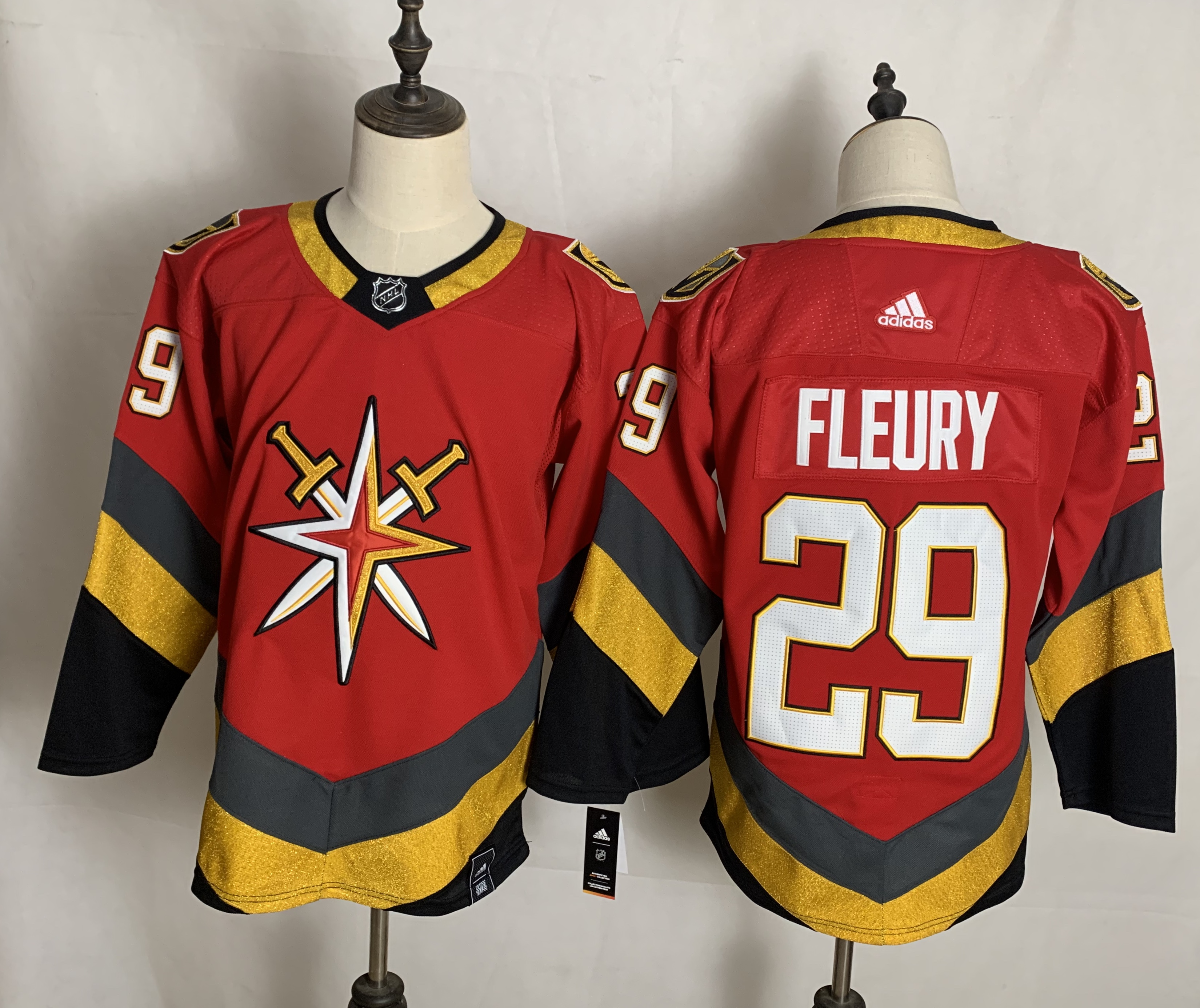 Men's Vegas Golden Knights #29 Marc-Andre Fleury Red Adidas 2020-21 Alternate Authentic Player NHL Jersey
