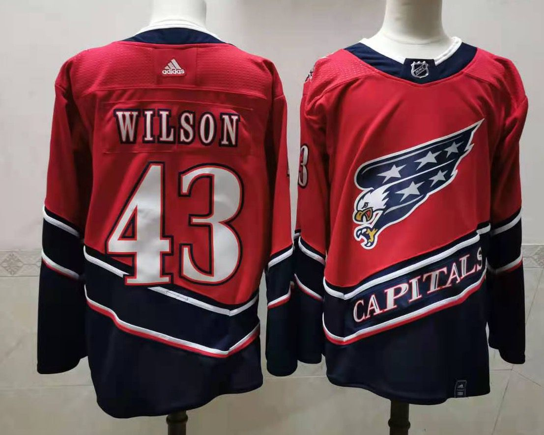 Men's Washington Capitals #43 Tom Wilson Red 2021 Retro Stitched NHL Jersey