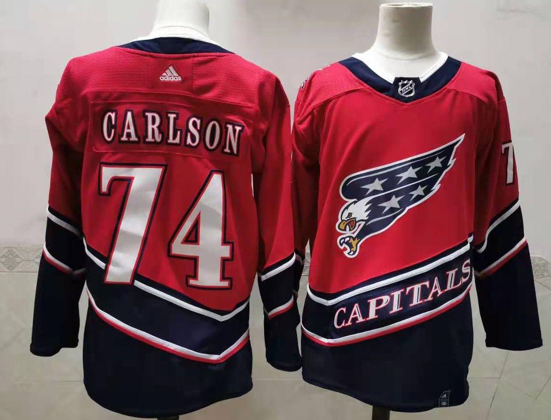 Men's Washington Capitals #74 John Carlson Red 2021 Retro Stitched NHL Jersey