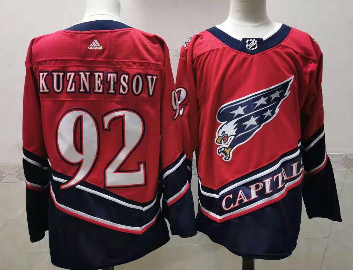 Men's Washington Capitals #92 Evgeny Kuznetsov Red 2021 Retro Stitched NHL Jersey