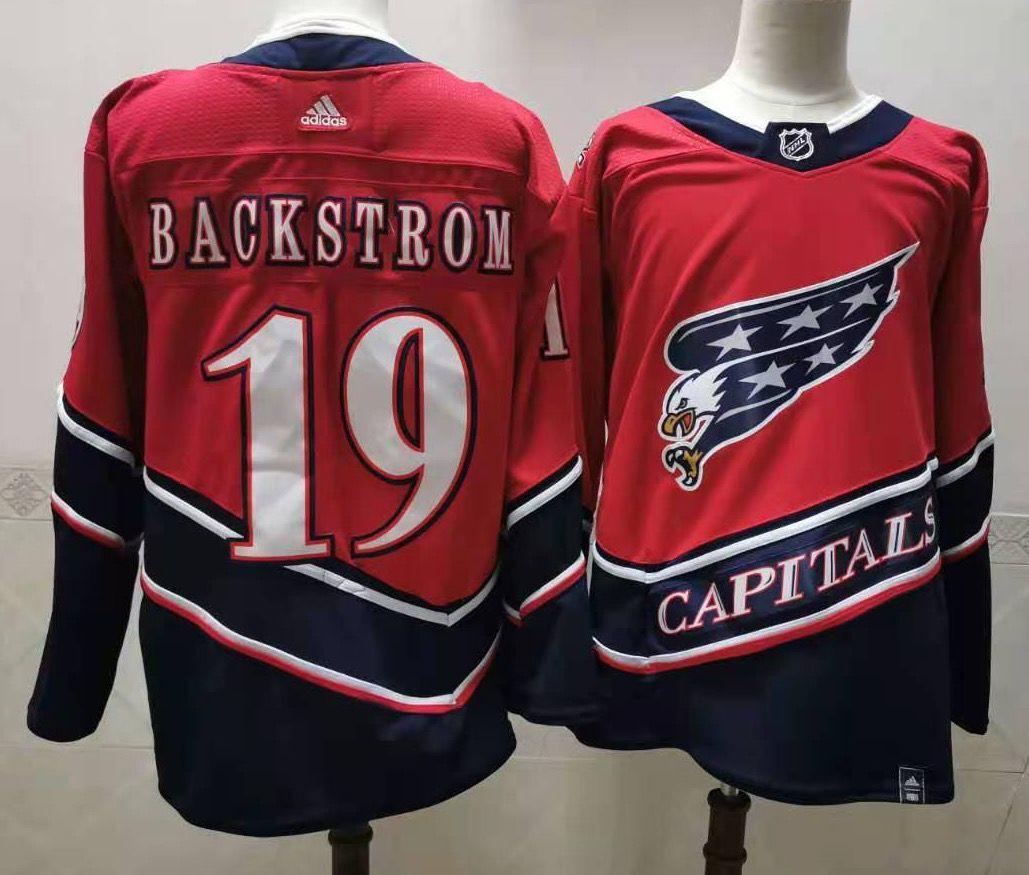 Men's Washington Capitals #19 Nicklas Backstrom Red 2021 Retro Stitched NHL Jersey
