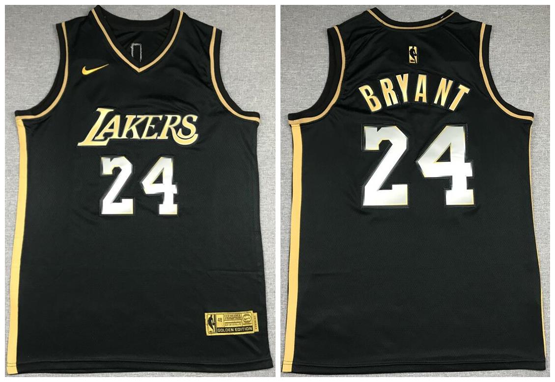 Men's Los Angeles Lakers #24 Kobe Bryant NEW 2020 Black Golden ...