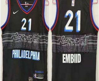 Men's Philadelphia 76ers #21 Joel Embiid NEW Black Nike 2021 Swingman City Edition Jersey