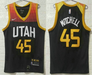 Men's Utah Jazz #45 Donovan Mitchell Black 2021 City Edition Nike Swingman Stitched NBA Jersey