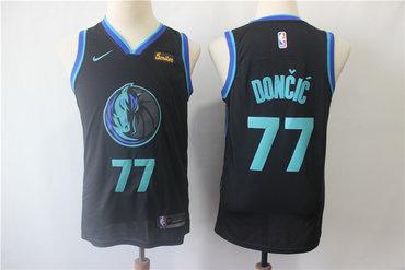 Youth Mavericks 77 Luka Doncic Black City Edition Nike Swingman Jersey