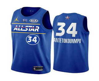 Men's 2021 All-Star #34 Giannis Antetokounmpo Blue Eastern Conference Stitched NBA Jersey