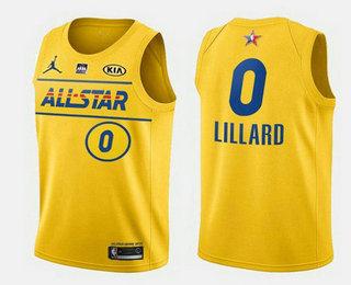 Men's 2021 All-Star #0 Damian Lillard Yellow Western Conference Stitched NBA Jersey
