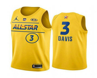 Men's 2021 All-Star #3 Anthony Davis Yellow Western Conference Stitched NBA Jersey