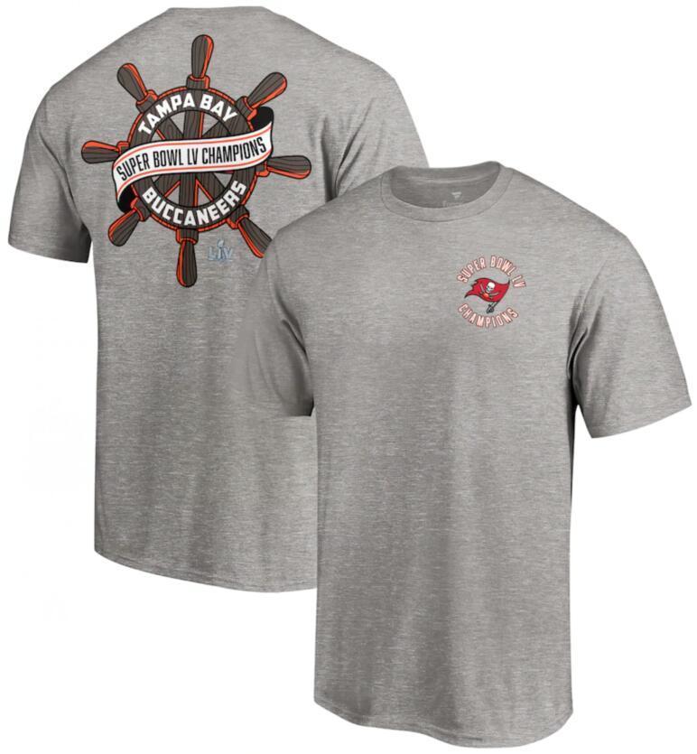 Men's Tampa Bay Buccaneers Fanatics Branded Heathered Gray Super Bowl LV Champions Hometown Wheel T-Shirt