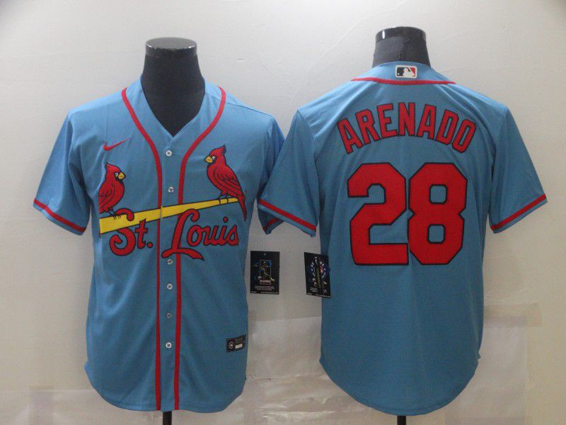 Men's St. Louis Cardinals #28 Nolan Arenado Light Blue Stitched MLB Cool Base Nike Jersey