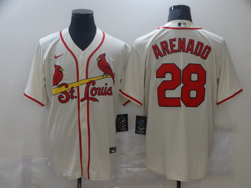 Men's St. Louis Cardinals #28 Nolan Arenado Cream Stitched MLB Cool Base Nike Jersey
