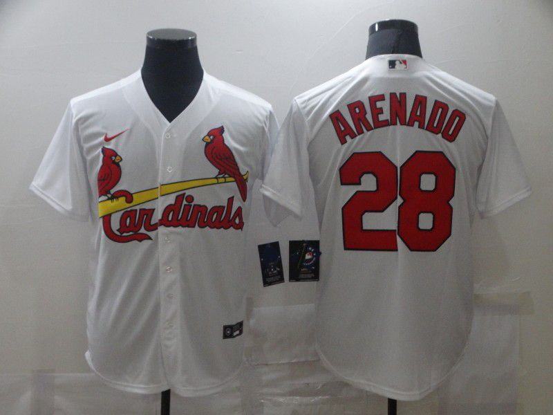 Men's St. Louis Cardinals #28 Nolan Arenado White Stitched MLB Cool Base Nike Jersey