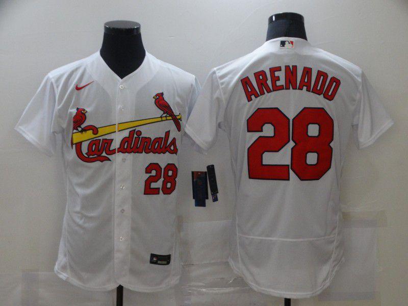Men's St. Louis Cardinals #28 Nolan Arenado White Stitched MLB Flex Base Nike Jersey