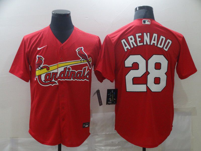 Men's St. Louis Cardinals #28 Nolan Arenado Red Stitched MLB Cool Base Nike Jersey