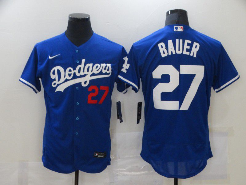 Men's Los Angeles Dodgers #27 Trevor Bauer Blue Stitched MLB Flex Base Nike Jersey