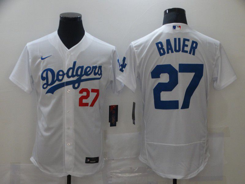 Men's Los Angeles Dodgers #27 Trevor Bauer White Stitched MLB Flex Base Nike Jersey