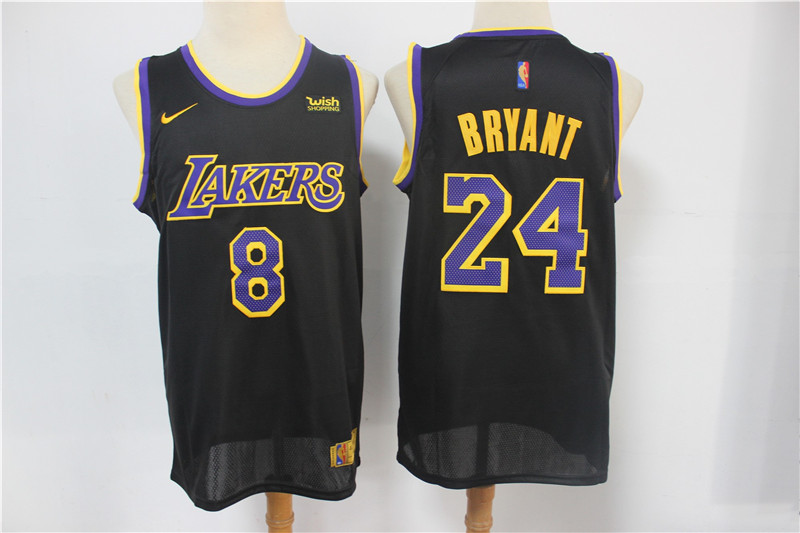 Men's Los Angeles Lakers #8 #24 Kobe Bryant Black Nike Swingman ...