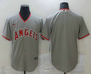 Men's Los Angeles Angels Blank Grey Stitched MLB Cool Base Nike Jersey