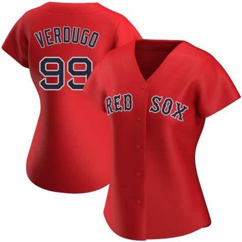 Red Sox #99 Alex Verdugo Red Alternate Women's Stitched Baseball Jersey