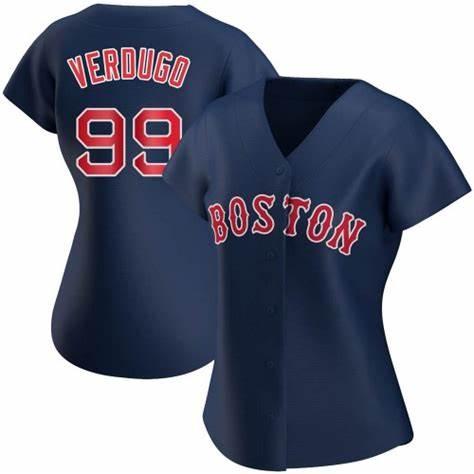 Red Sox #99 Alex Verdugo Navy Blue Alternate Women's Stitched Baseball Jersey