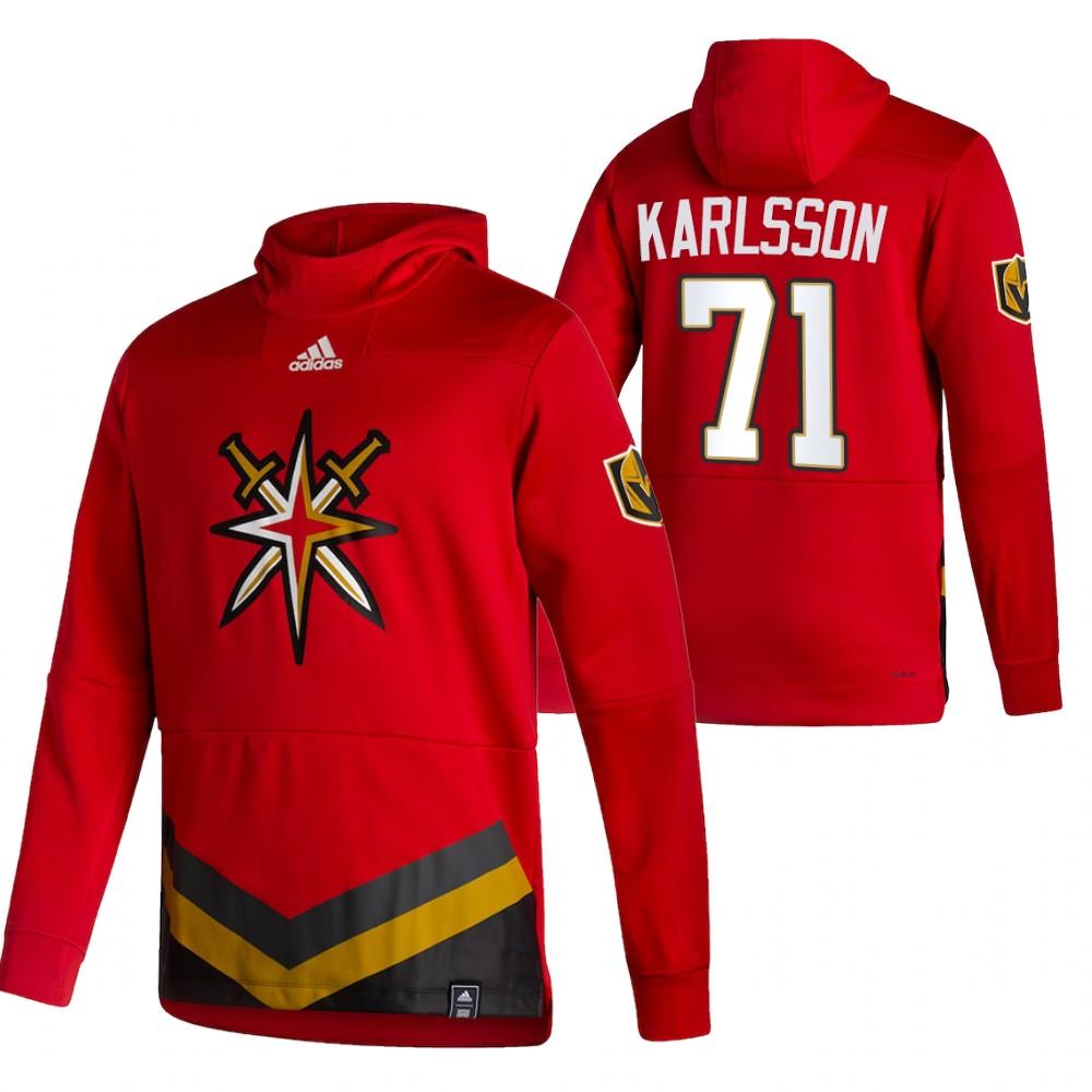 Vegas Golden Knights #71 William Karlsson Adidas Reverse Retro Pullover Hoodie Red