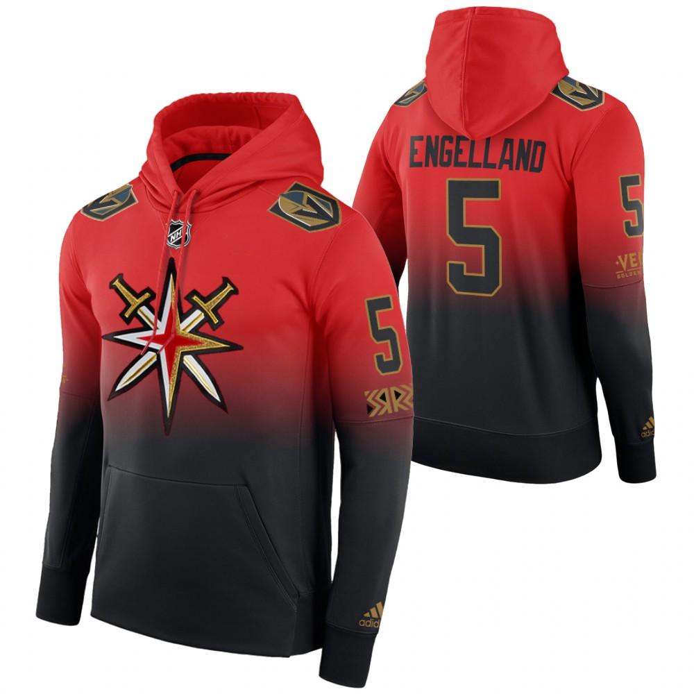 Vegas Golden Knights #5 Deryk Engelland Adidas Reverse Retro Pullover Hoodie Red Black