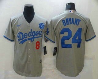 Men's Los Angeles Dodgers #8 #24 Kobe Bryant Grey KB Patch Stitched MLB Cool Base Nike Jersey