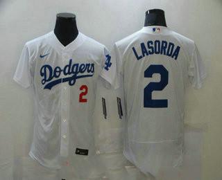 Men's Los Angeles Dodgers #2 Tommy Lasorda White Stitched MLB Flex Base Nike Jersey