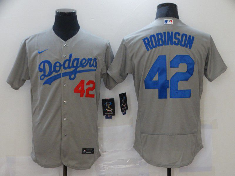 Men Los Angeles Dodgers 42 Robinson Grey Elite Nike MLB Jerseys