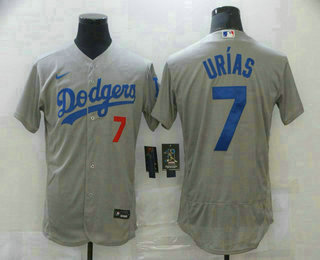 Men's Los Angeles Dodgers #7 Julio Urias Grey With Dodgers Stitched MLB Flex Base Jersey