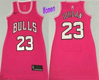 Women's Chicago Bulls #23 Michael Jordan Pink Nike Swingman Stitched Dress Jersey
