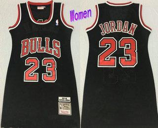 Women's Chicago Bulls #23 Michael Jordan 1997-98 Black Hardwood Classics Soul Swingman Throwback Dress
