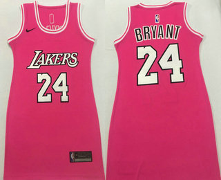 Women's Los Angeles Lakers #24 Kobe Bryant Pink Nike Swingman Stitched Dress Jersey