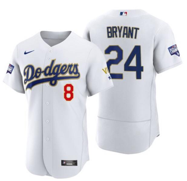 Men's Los Angeles Dodgers Front #8 Back #24 Kobe Bryant White Gold Championship Sttiched MLB Jersey